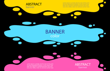 Set Bright Abstract banners. Poured yellow and red paint and spray around. Vector illustration.