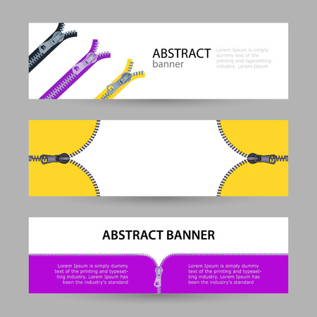 Set horizontal banners with empty place for text. metal zippers for clothing in different colors. banner templates for your projects.