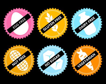 set Vector icon egg free, gluten, dairy, nut, no sugar, vege