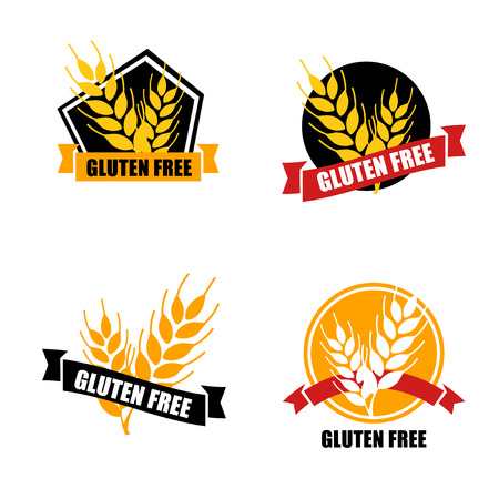Gluten free label vector. Intolerance circle badge isolated on w