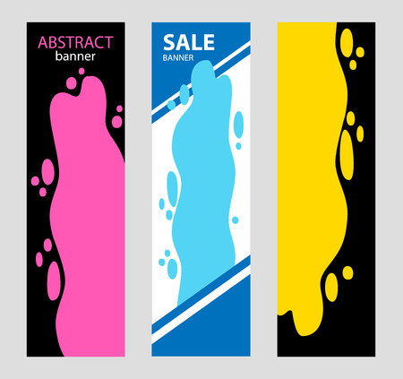 Set vertical Bright Abstract banners. Poured yellow and red pain Illustration