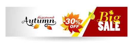 Horizontal Autumn banner. Autumn Sale 30 off. Vector illustrations