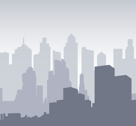 Multilayer Silhouette of a night city. Background for banner big city or design template. The center of the town - Vector illustration.