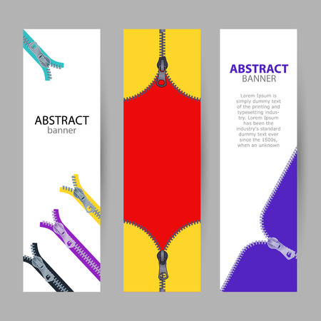 Set vertical banners with empty place for text. open and closed metal zippers on red, white and blue colors. banner templates for your projects.
