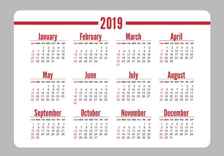 Horizontal Red Pocket Calendar On 2019 Year. Simple Vector