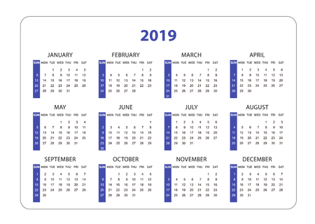 Horizontal pocket calendar on 2019 year. Simple Vector template calendar for business on white background. Week starts sunday. dark blue end black color.