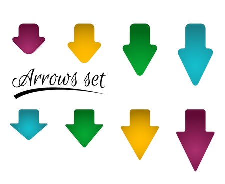 Set of bright different arrows with straight and round corners. Illustration