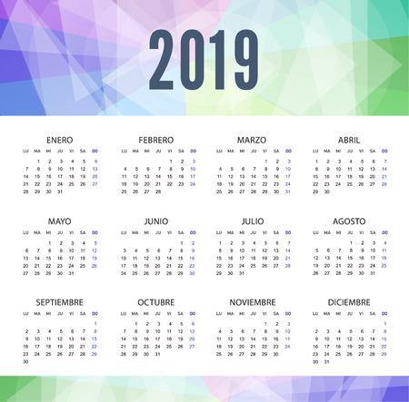 Calendar 2019 in Spanish in modern style. Week starts from Monday. Vector template pocket calendar for business isolated on white background.