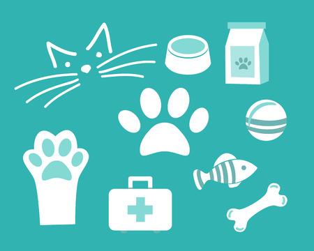 set Vector icon pet for vet or pet shop. White Symbols Cat muzzle, bowl, fish, bone, ball, paw on blue background.