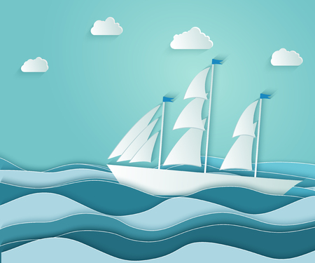 The sailboat floats on the rough ocean with waves. A symbol of business success and freedom. Vector illustrations, paper art and digital crafts style. Vektorové ilustrace