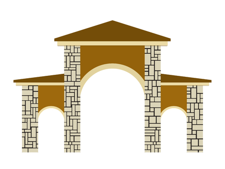 Stone columns. Vector illustration of a gate.