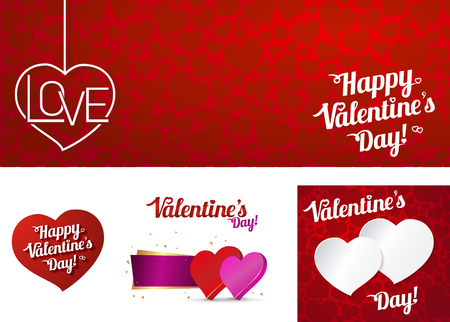 Set card Happy valentines day or weeding. Illustration