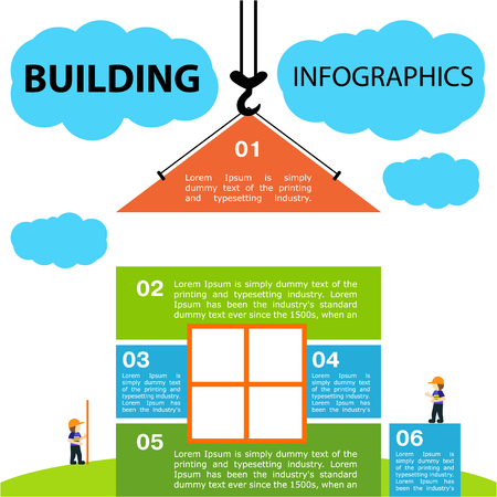 Bright vector illustration on the theme of Building. Stock Illustratie