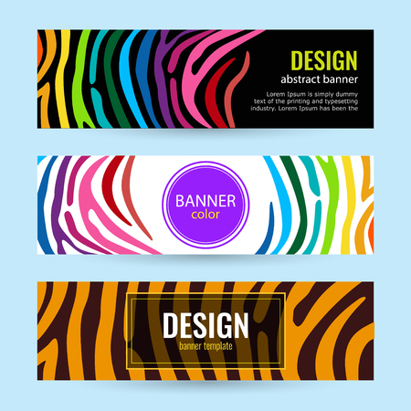 Set of horizontal color banners with stripes rainbow on black and white background. Stock Illustratie