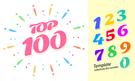 Color fireworks template with numbers - tor 100 rating. Colorful bright numbers from 1 to 9 for easy replacement in the layout. Vector illustration in a flat style.