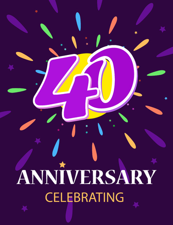 Poster 40 anniversary celebrating A bright postcard, a number in the middle of a beautiful fireworks display. Vector illustration on dark background. Standard-Bild - 117009526