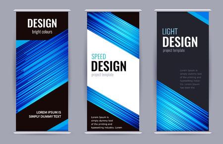 Helles Roll-up-Banner mit blauen Linien auf dunklem Hintergrund. Stellen Sie vertikale Banner mit leerem Platz für Text ein. Design Abstrakter Vektor-Grafik-Hintergrund.