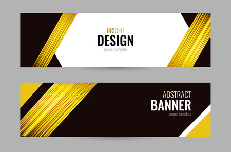 Bright banner with golden strips on dark background. Set horizontal banners with empty place for text. Abstract vector background.
