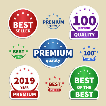Set paper stickers. colorful labels for your projects. Best seller, Premium, 100 Quality, Best price. Vector illustration