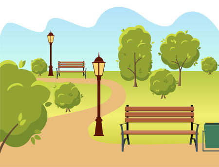 beautiful summer city park with green trees bench, lantern and walkway. Vector illustration.