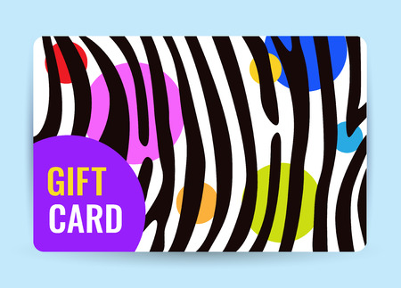 Bright card with black and white stripes and color circle. Creative Gift card. Universal dark flyer template for advertising your business. Vector Illustration.