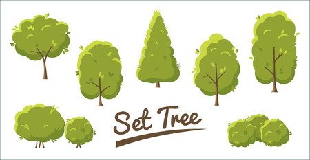 Set of abstract stylized trees in flat style. Green trees Isolated on white background. Set Vector illustration. Illustration