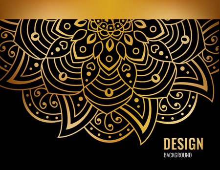 Black horizontal banner with gold beautiful mandala. Golden vector flower on dark background. Decorative ornate round mandala. Invitation, wedding card.