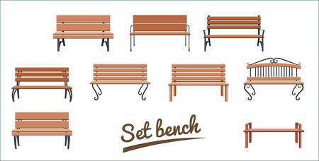 Drewniane ławki zewnętrzne. na białym tle. brązowy wektor ławka w stylu płaski. Zestaw ilustracji wektorowych.