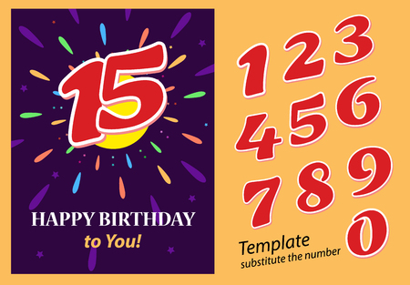 Poster Happy Birthday to you Bright banner Template with red numbers. You can replace the desired number. Vector illustration on dark background.