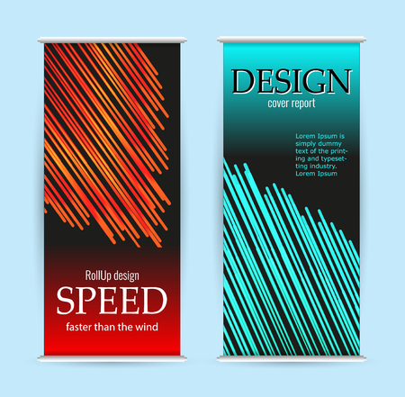 Abstract roll up with red and green lines on black background. Set vertical luminous banners Imagens