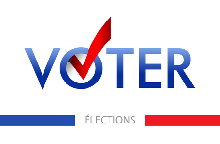 Voting banner vector design. The word vote is written in French. layout Elections icons. check marks. Vote, poll sign.