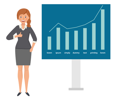 Happy businesswoman shows thumb up against the background of profit chart growth. Vettoriali