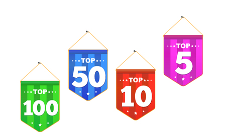Set of bright colorful stickers Top 100, 5, 10, 50 with smile.  Symbol of achieved victory. Ilustração