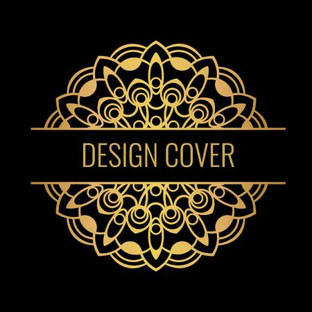 Black cover with gold beautiful flower. Golden vector mandala on dark background. Decorative ornate round mandala. Invitation, wedding card.