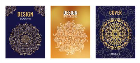 Set poster Golden mandala on dark blue background. Luxury elegant cover. Decorative ornate round mandala. A symbol of life and health. Vector illustration. Çizim