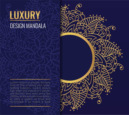Design card with golden vector mandala on dark blue background. A symbol of life and health. Invitation, banner, magic symbol.