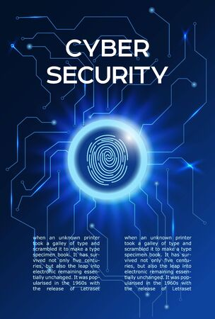 Cyber security concept poster. Fingerprint scanning in a glowing circle. information privacy idea