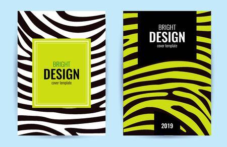 Set Design poster lime color. Green blue stripes on black background. Abstract graphic background. Illustration