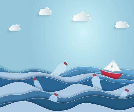 Statek płynie po morzu zaśmieconym plastikowymi odpadami. Plakat ekologiczny niebieski. sztuka papieru i cyfrowy styl rękodzieła. Ilustracja wektorowa. Ilustracje wektorowe