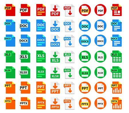Große Sammlung von Vektorsymbolen. Symbole für Dateiformaterweiterungen. Vektorgrafik