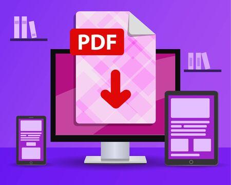 Banner de diseño: descargue el archivo PDF. la computadora de escritorio en la habitación está de pie sobre la mesa