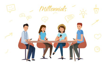 Millenium generation communicate with each other in social networks using phones Vetores