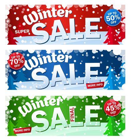 Impostare banner di vendita orizzontale luminoso su sfondo colorato con fiocchi di neve. Testo - Super saldi invernali.