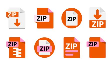 File format extensions icons. Collection of vector icons. Ilustração