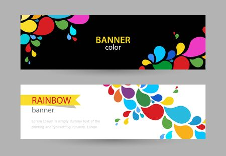 Abstract Bright banner with drops of rainbow paints on white and black background. Set horizontal banners with empty place for text.