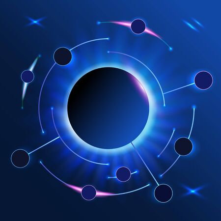 Abstract infographics round line on dark background.