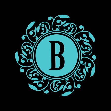 Round emblem with blue letter B on black background. Elegant floral monogram template Design for restaurant, hotel, jewelry. invitations on Wedding.
