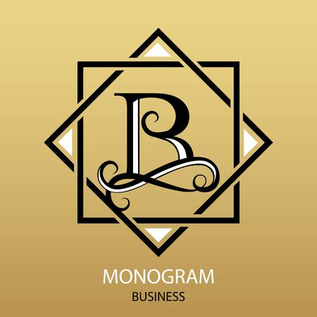 Vector letter B monogram on gold background. Design modern for Business. For a beauty salon or law firm.