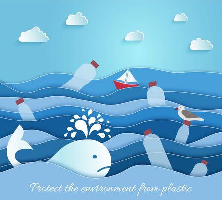 Plastic Pollution in the sea. Ecological blue poster, Ilustração