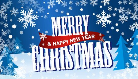 Horizontal blue flyer Merry Cristmas and Happy New Year. Ilustração